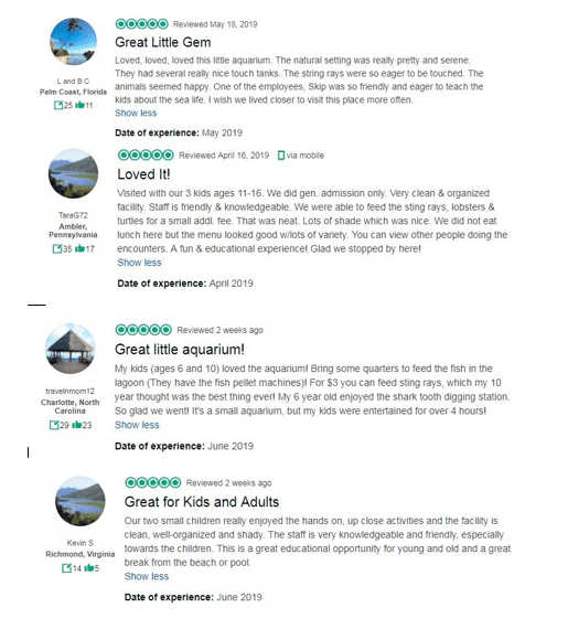 Screenshot fo reviews from trip advisor