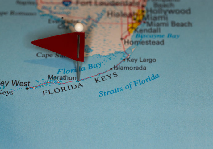 A map pin with a red flag pinpoints the city on a select area from a high quality map.  The red flag creates highlighted copy space for text.