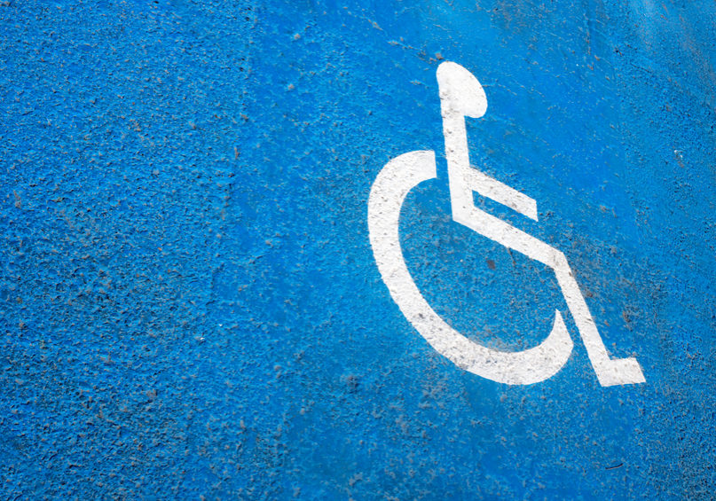 Disable Symbol on asphalt , Wheelchair parking space